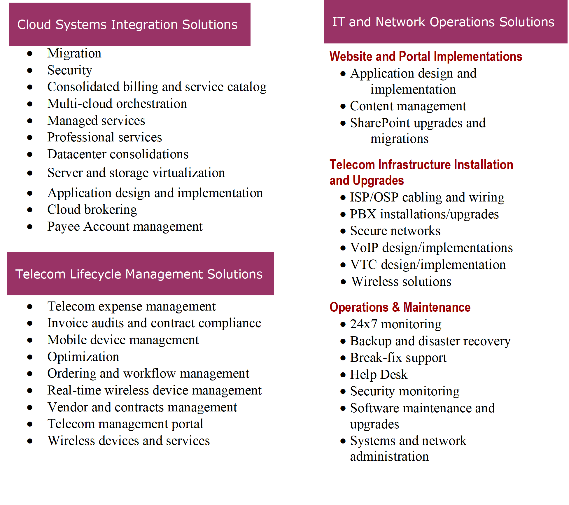 Services - 3 areas